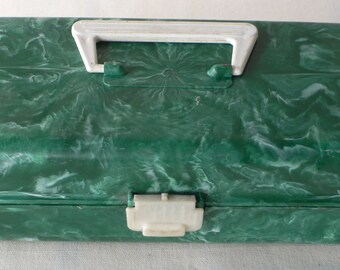 Vintage plastic craft box, green malachite,studio decor, from Diz Has Neat Stuff