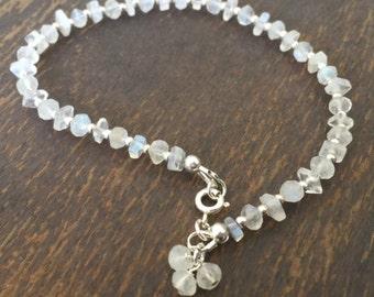 Moonstone Bracelet - Rainbow Moonstone Bracelet - Sterling Silver Jewelry - Gemstone Jewellery Iridescent - Everyday Minimal Beaded