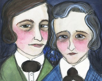 Brothers Grimm, Literary Portrait Art Print, Victorian Goth Decor (6x8) Grimm's Fairy Tales Art