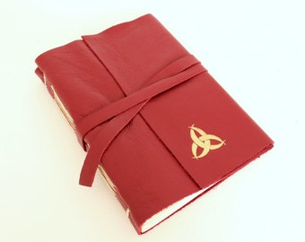 Red Leather Journal Sketchbook with Gilded Triquetra