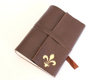Brown Leather Journal Sketchbook with Gilded Fleur de Lys