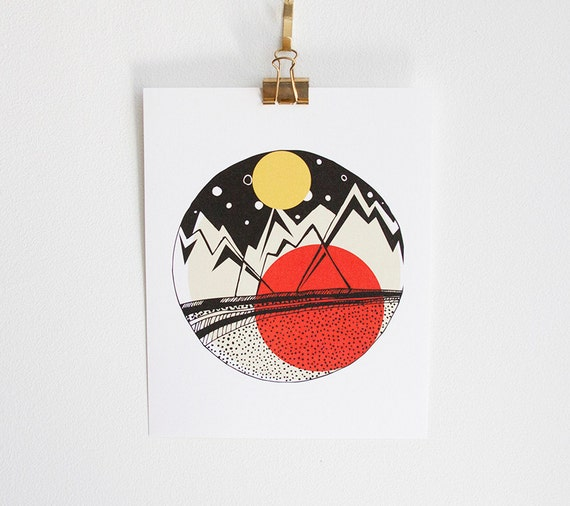 Geometric Mountains, 8x10 art print