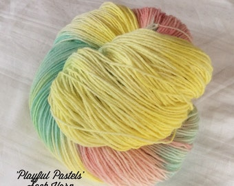SALE Dip dyed Self Striping Variegated 4ply Knitting or Crochet yarn. 'Playful Pastels' Colorway