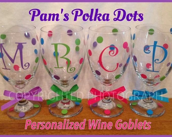 Personalized WINE GLASS GOBLET with Name Initial Word Polka Dots Bride Bridesmaids Bachelorette Wedding Party 21st Birthday