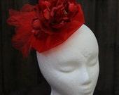 Red Fascinator Hair Clip, Fancy Hair Accessory, princess fascinator, Red theme party, Red hair accessory