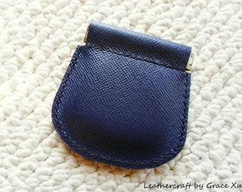 100% hand stitched handmade soft dark slate blue leather flex frame pouch for Coin,Trinket, Jewelry, Cord, Ear buds, ipod, etc.
