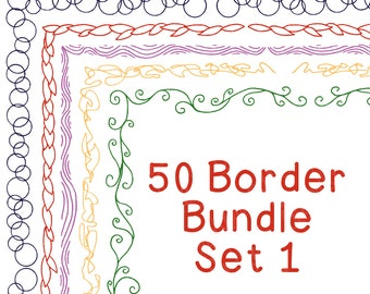 50 Borders Multicolor Clip Art Bundle Set 1, PNG JPG, Blackline Included, Commercial or Personal, Bubbles Leaves Squiggles