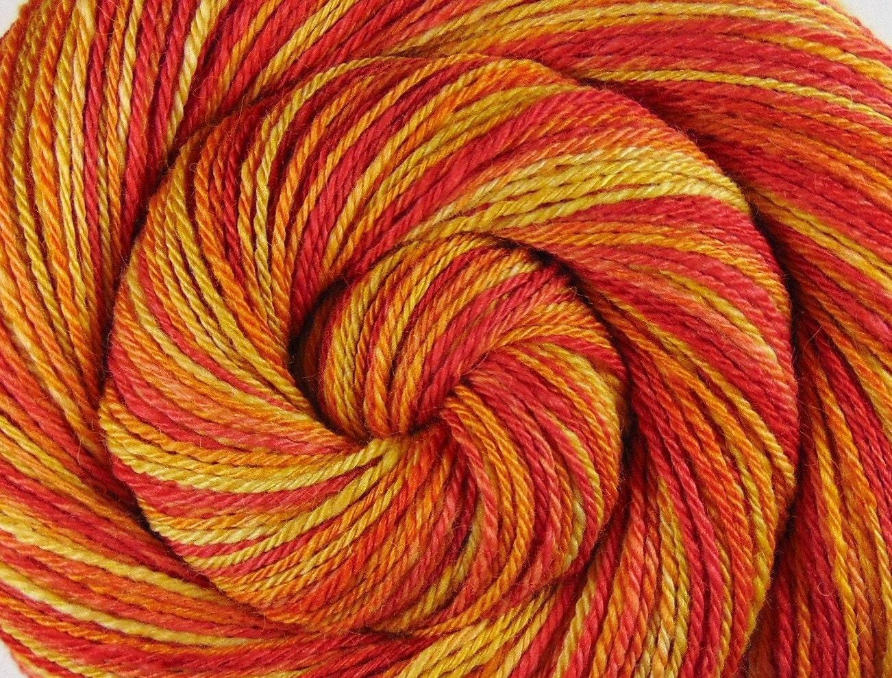 Luxury Yarn : Luxury Handspun Yarn 3 ply THE RISING SUN by BlackSheepGoods