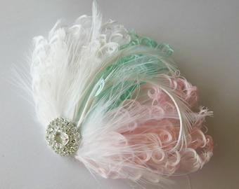 Bridal Hairpiece, Feather Fascinator, Wedding Hairpiece, Ivory ,Pink, Green, Blush, Mint, White, Vintage Wedding, Prom