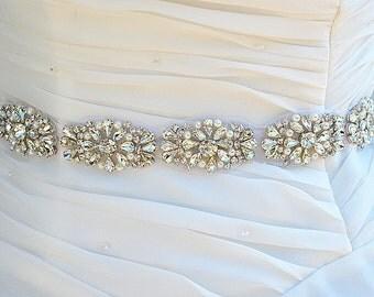 SALE Wedding bridal crystal pearl sash , belt , rhinestone & pearl belt