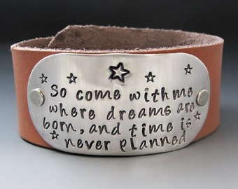 Peter Pan Leather Cuff Bracelet / Second Star to the Right Bracelet / Peter Pan Inspired Bracelet / Gifts for Her / Graduation Gifts