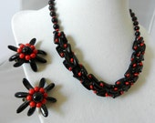 Vintage Deco West Germany Red and Black Demi-Parure Necklace and Earrings