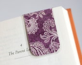 Laminated Bookmark, Magnetic Bookmark, Purple Lace Flowers, Honeycomb Paisley