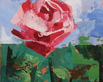"Garden 87"" Original acrylic painting on canvas 6"" x 8"""