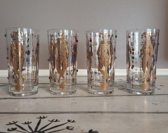 Culver Glasses (4) 22k Highball Glasses Mid Century Barware Culver Jester Glasses Mardi Gras Culver Rhinestone Culver Glasses New Orleans