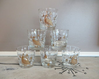 Vintage Libbey Lowball Glasses Partridge in a Pear Tree Gold Glasses Bird Glass Peacock Glassware Mid Century Barware Vintage Barware