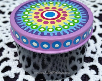 Colorful Mandala Hand Painted Stash Tin Pill Box