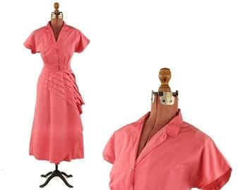 Vintage 1950's Crisp Cotton Pink Fan Pleated Dolman Sleeve Pin Up Full Skirt Garden Party Dress L