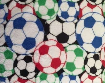 Multi Soccer balls cuddle minkee fabric by Shannon fabric