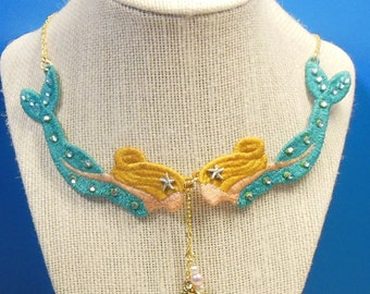 Lace Double Mermaid Necklace with Swarovski Crystals