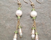White Freshwater Pearl and Peridot Long Chain Earrings