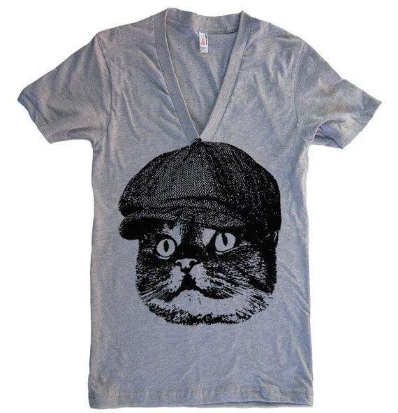 SALE - Unisex Men's CAT In a Hat Deep V Neck T-Shirt - American Apparel Tshirt - Heather Grey - Size LARGE