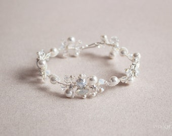 Silver and White Opal Crystal Bridal Bracelet - Sparkling White and Silver Wedding Crystal Cuff Bracelet - Celebration Jewelry White