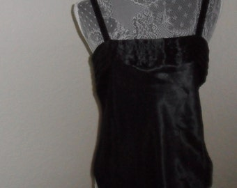Vintage Camisole Black Satin Top Cami By Indulgence Size 34