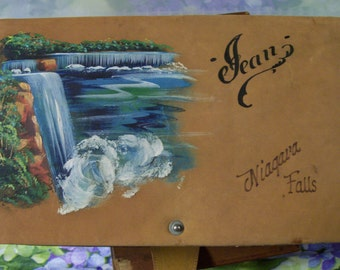 Niagara Falls Jewelry Box Vintage 1930s Souvenir Keepsake Hand Painted Falls on Leather Top 3 Inside Sections