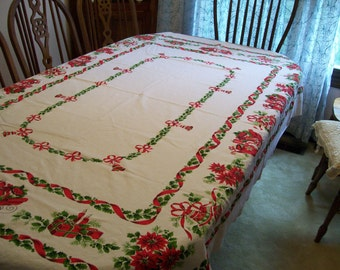 Christmas Holiday Tablecloth Bells Sleigh Presents Poinsettias Full of Holiday Cheer