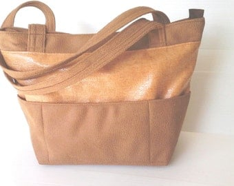 summer bag, brown orange vegan purse, outside pockets over the shoulder bag, city bag, roomy bag, chic bag,