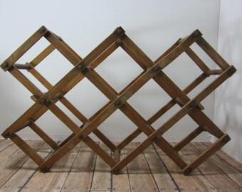 Wood Wine Rack Folding, Expandable and Collapsible 8 Slots Repurpose Towel Rack Wooden Bottle Rack Wine Rack Rustic Primitive Minimalist