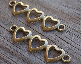 16 Bronze Heart Connector Charms 43mm by 11mm