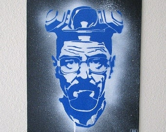 Heisenberg Single Layer Graffiti Stencil Art on Canvas Board 8x10