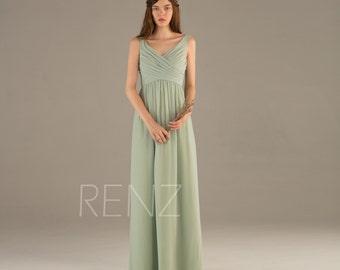 2016 Dusty Shale Bridesmaid dress, Backless V neck Maxi dress, Wedding dress, Party dress, Long Chiffon Prom dress floor length (T111)-RENZ