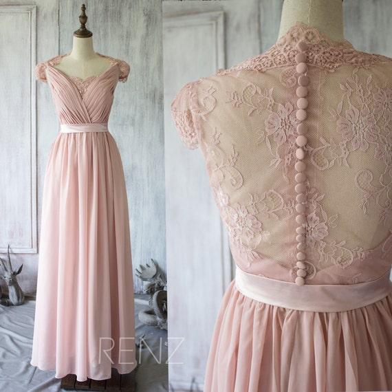2017 blush chiffon lace bridesmaid dress cap sleeve wedding for Long sleeve blush wedding dress
