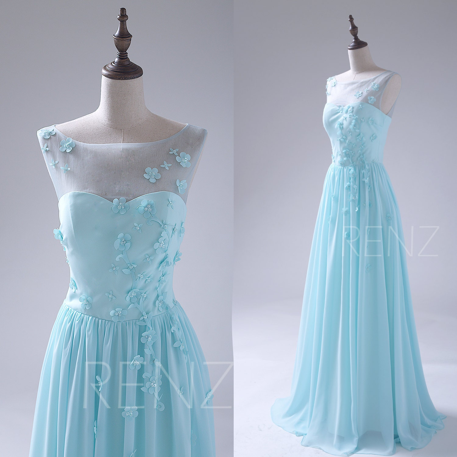 Aqua bridesmaid dress bateau neck wedding dress illusion for Light blue dress for wedding