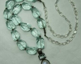 Very Big 1980s Sterling Silver Aqua Quartz Rutilated Quartz Necklace Rock Crystal