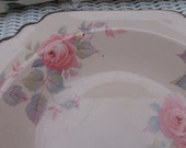 Pale pink shabby, cottage chic Limoge Rose Marie  floral rose pattern china bowl