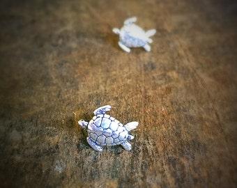 Tiny Sea Turtle Stud Earrings, Sterling Silver Ocean Jewelry