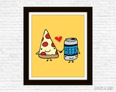 Pizza Loves Beer Frameable Illustration Print by Buck and Libby We Belong Together series
