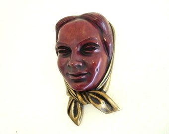 Achatit Woman Wall Mask made in Germany 1950 Collector Lady Wall Mask Sculpture