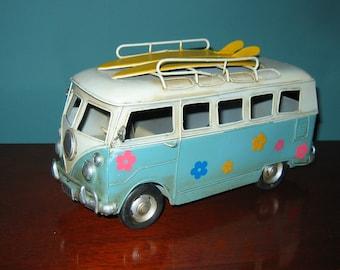 "VW Bus Model 10"" Long Surfer Bus- Tin Model Love, PEACE and WOODSTOCK"