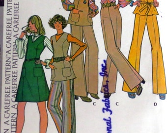 Uncut Vintage 1970s Jumper Or Tunic Blouse & Pants Sewing Pattern Bust 40 McCall's 3654