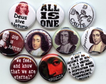 """Baruch SPINOZA Ethics Philosopher Monist Philosophy 10 Pinback 1"""" Buttons Badges Pins"""