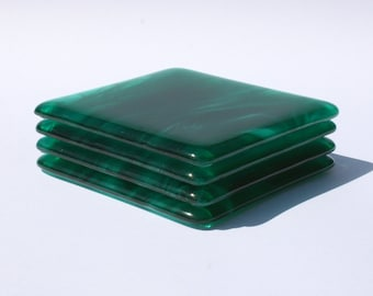 Glass Coasters - Streaky Teal Green - Set of 4