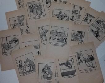 20 Marmaduke cartoons book pages 1970s 80s Vintage paper ephemera lot illustrations altered art scrap project supplies