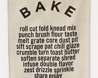 Linen Tea Towel - BAKE - Noir On Oatmeal