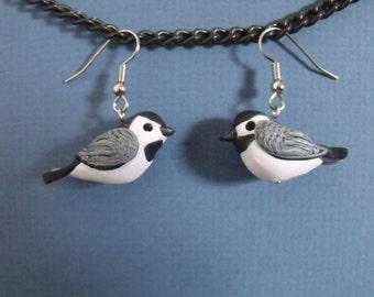 Handmade Polymer Clay Chickadee Bird Earrings