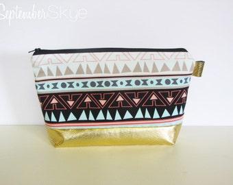 Aztec and Gold Makeup Bag